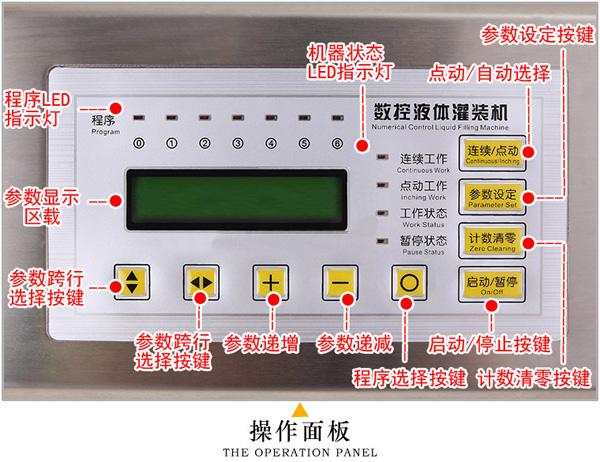 小型磁力泵定量灌装机操作面板注解